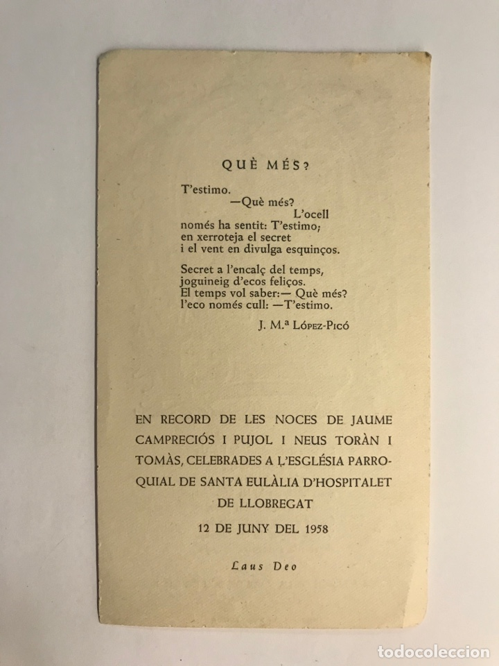Postales: GOIGS A LLAOR DE LA MARE DE DEU DE LES NEUS. Estampa Religiosa (h.1950?) - Foto 2 - 262809975