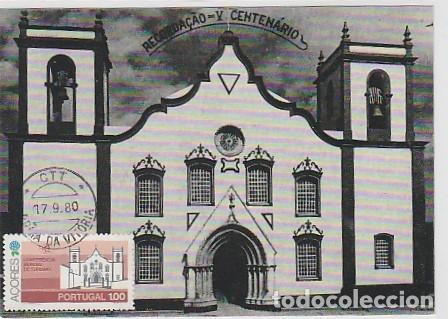 PORTUGAL & MAXI, AZORES, ISLA TERCEIRA, PRAIA DA VITÓRIA, IGREJA MATRIZ 1980 (6686) (Postales - Postales Temáticas - Religiosas y Recordatorios)