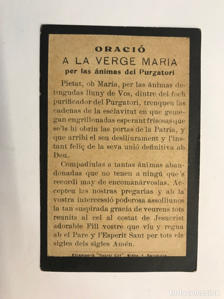 Postales: SANTA FAZ. Hermosa Estampa litografia. Por los Méritos de tu Preciosa sangre. Barcelona (h.1900?) - Foto 2 - 262815195