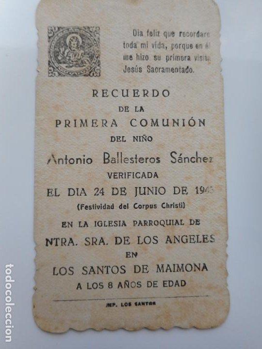 RECUERDO PRIMERA COMUNION.ANTONIO BALLESTEROS SANCHEZ.LOS SANTOS DE MAIMONA.BADAJOZ 1943 (Postales - Postales Temáticas - Religiosas y Recordatorios)
