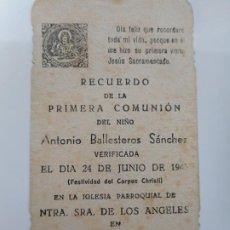 Postales: RECUERDO PRIMERA COMUNION.ANTONIO BALLESTEROS SANCHEZ.LOS SANTOS DE MAIMONA.BADAJOZ 1943. Lote 262821755