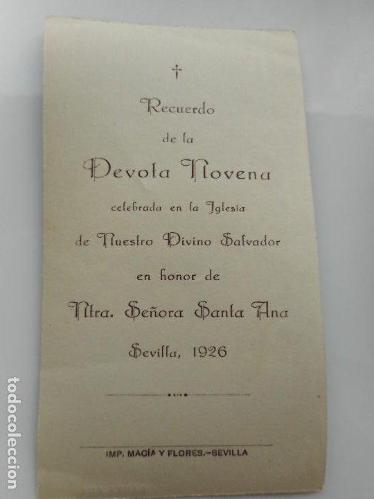 Postales: RECUERDO DEVOTA NOVENA.IGLESIA DEL SALVADOR.SANTA ANA.SEVILLA 1926 - Foto 2 - 262821885