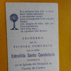 Postales: RECUERDO PRIMERA COMUNIO. SANTO CANDELARIO.FUENTE CANTOS.BADAJOZ 1954. Lote 263204640