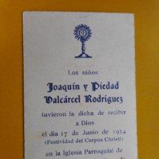 Postales: RECUERDO PRIMERA COMUNION.VALCARCEL RODRIGUEZ.FUENTE DE CANTOS.BADAJOZ 1954. Lote 263204825