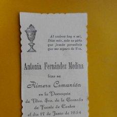 Postales: RECUERDO PRIMERA COMUNION.FERNANDEZ MEDINA.FUENTE DE CANTOS.BADAJOZ 1954. Lote 263204935