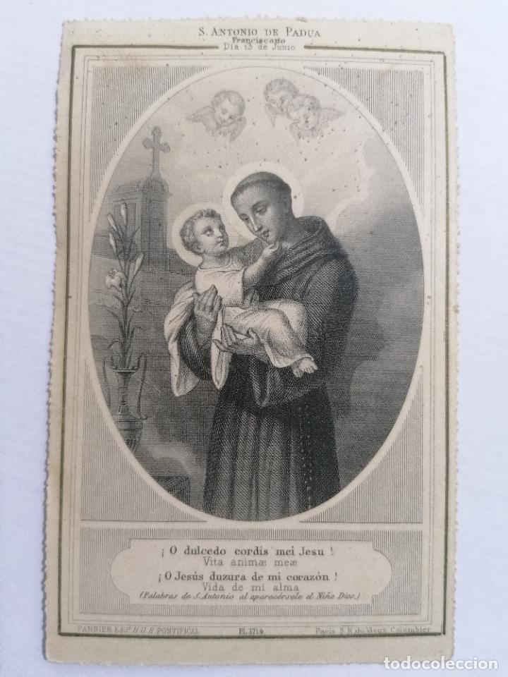 SAN ANTONIO DE PADUA, O JESUS DULZURA DE MI CORAZON, VIDA DE MI ALMA, PALABRAS DE ANTONIO ANTE EL N (Postales - Postales Temáticas - Religiosas y Recordatorios)