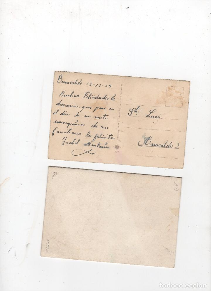 Postales: LOTE DE 2 TARJETAS POSTALES RELIGIOSAS CON BRILLANTINA. AÑO 1959 - Foto 2 - 268817389
