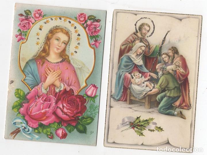LOTE DE 2 TARJETAS POSTALES RELIGIOSAS CON BRILLANTINA. AÑO 1959 (Postales - Postales Temáticas - Religiosas y Recordatorios)