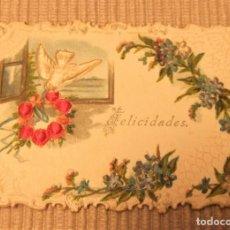 Postales: ANTIGUA TARJETA DE FELICIDADES TROQUELADA Y BORDADA. Lote 268999309