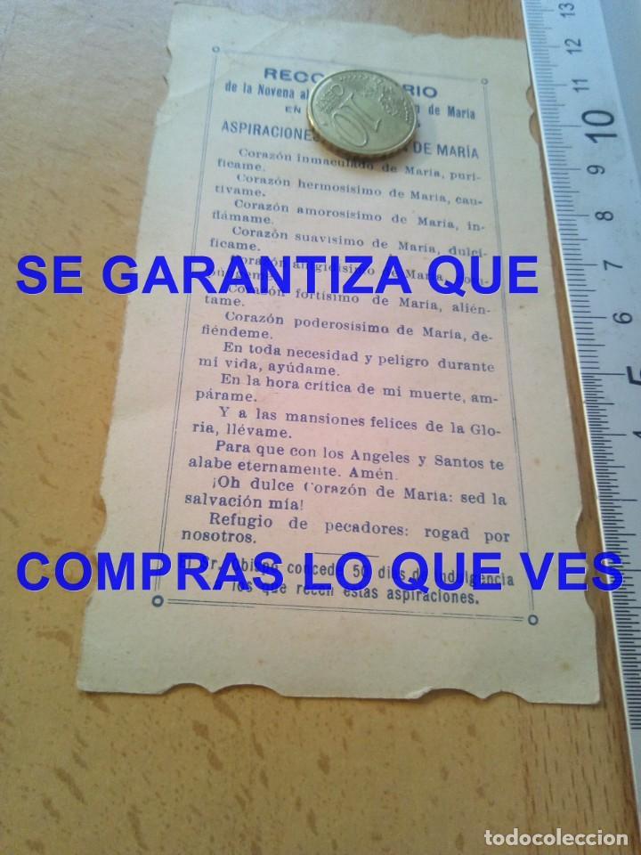 Postales: 1925 SAGRADO CORAZON DE MARIA ASPIRACIONES ESTAMPA RECORDATORIO E5 - Foto 2 - 269735833
