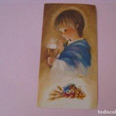Cartes Postales: RECORDATORIO DE LA PRIMERA COMUNIÓN. IL. ROSER PUIG. SABADELL AZUL 01.00.039.5 1974. MALAGA. 11X6 CM. Lote 269950373