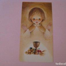 Cartes Postales: RECORDATORIO DE LA PRIMERA COMUNIÓN. IL. ROSER PUIG. SABADELL AZUL 01.00.039.4 1974. MALAGA. 11X6 CM. Lote 269950603