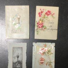 Postales: LOTE DE 4 RECORDATORIOS , CELULOSA PINTADOS A MANO , MUY ANTIGUOS.. Lote 270619983