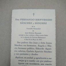Postales: ANTIGUA ESQUELA DON FERNANDO BIENVENIDO SANCHEZ Y SANCHEZ DE LA VENERABLE HERMANDAD DE JESUS. Lote 271577673