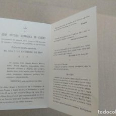 Postales: ANTIGUA ESQUELA JOSE ESTELLA BERMUDEZ DE CASTRO CATEDRATICO DE CIRUGIA DE LA FACULTAD MADRID. Lote 271578003