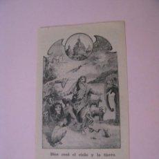 Postales: ESTAMPA RELIGIOSA. DIOS CREÓ EL CIELO Y LA TIERRA. 10X5,5 CM.. Lote 271662703