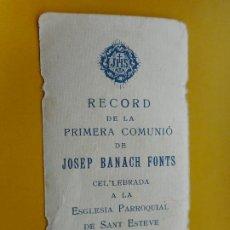 Postales: RECUERDO PRIMERA COMUNION.JOSEP BANACH FONTS.VILASECA TARRAGONA 1927. Lote 271690913