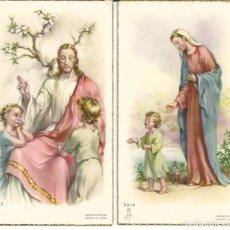 Cartes Postales: LOTE 2 RECORDATORIO COMUNIÓN *GISBERT* ? - VILANOVA Y GELTRÚ 1956-57. Lote 274001738