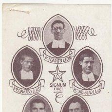 Postales: 19 AGOSTO 1936 RECORDATORIO MARTIRES RELIGIOSOS EN VALDEPEÑAS (CIUDAD REAL) CON RELIQUIA. Lote 275525263