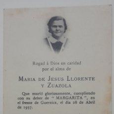 Postales: GUERRA CIVIL. RECORDATORIO DE MARÍA DE JESÚS LLORENTE Y ZUAZOLA. 28 ABRIL DE 1937. Lote 276092543