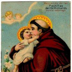 Postales: RECUERDO DE LAS PASTILLAS DEL DR. RICHARDS - SAN ANTONIO DE PADUA - 106X77 MM.. Lote 276532053