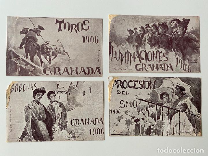 4 POSTALES , FIESTAS DEL SANTISIMO CORPUS CHRISTI EN GRANADA , LIT. JOSÉ GOMEZ (Postales - Postales Temáticas - Religiosas y Recordatorios)