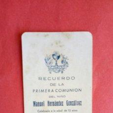 Postales: MANUEL HERNANDEZ GONZALVEZ.-PRIMERA COMUNION.-ESTAMPA RELIGIOSA.-ELCHE.-AÑO 1939.. Lote 280109063