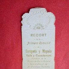 Postales: ENRIQUETA Y MIQUELA VALLS Y CASADEMONT.-PRIMERA COMUNION.-ESTAMPA RELIGIOSA.-BARCELONA.-AÑO 1909.. Lote 280111913
