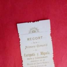 Postales: ENRIQUETA Y MIQUELA VALLS Y CASADEMONT.-PRIMERA COMUNION.-ESTAMPA RELIGIOSA.-BARCELONA.-AÑO 1909.. Lote 280112013
