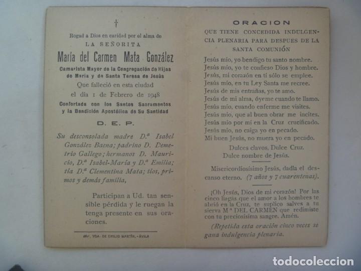 Postales: RECORDATORIO SEÑORITA FALLECIDA EN 1948, CAMARISTA MAYOR CONGRAGACION HH. MARIA Y S. TERESA, AVILA - Foto 2 - 288544403