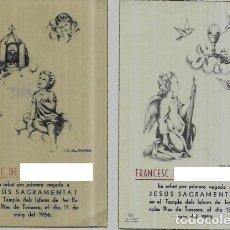 Cartoline: 2 RECORDATORIOS COMUNION PRUNA - 1956. Lote 289312393