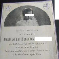 Postais: RECORDATORIO DEFUNCIÓN -TERRASSA AÑO 1942 - NIÑA. Lote 289314723