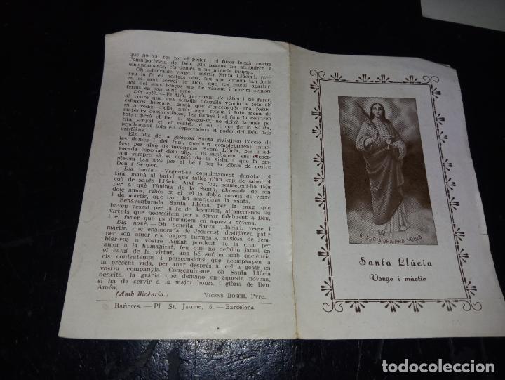 Postales: ANTIGUA ESTAMPA RELIGIOSA NOVENA A SANTA LLUCIA EDITADA POR BAÑERES ESCRITA EN CATALAN - Foto 2 - 289706828