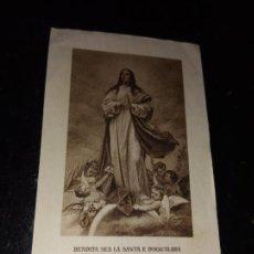 Postales: ANTIGUA ESTAMPA RELIGIOSA BENDITA SEA LA SANTA E INMACULADA CONCEPCION DE LA SANTISIMA VIRGEN MARIA. Lote 289707958