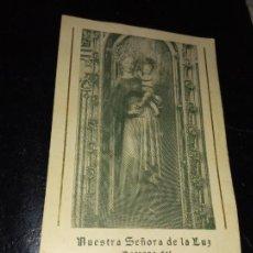 Postales: ANTIGUA ESTAMPA RELIGIOSA NTRA. SRA. DE LA LUZ PATRONA DEL RAMO INDUSTRIAL DE LA ELECTRICIDAD 1956. Lote 289712358
