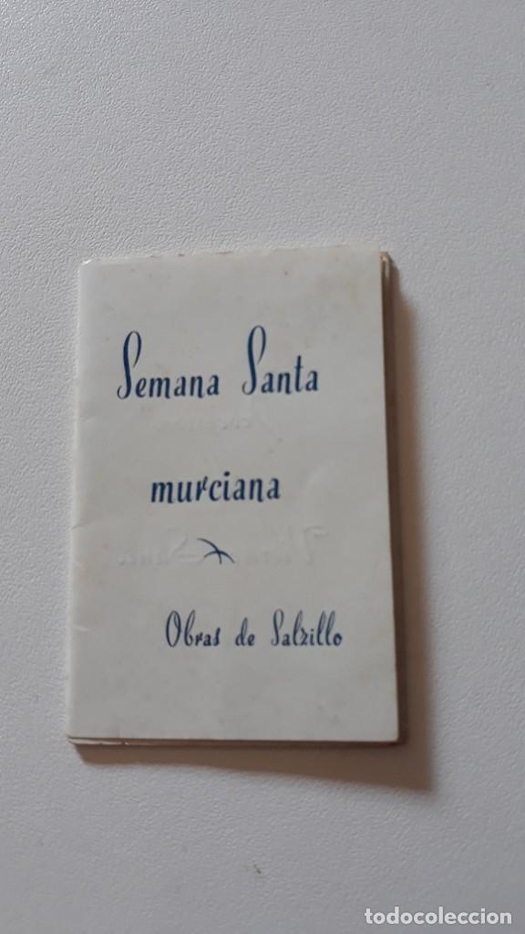 RECORDATORIO DESPLEGABLE. SEMANA SANTA MURCIANA - OBRAS DE SALZILLO. IMP. MUELAS, CARTAGENA. (Postales - Postales Temáticas - Religiosas y Recordatorios)