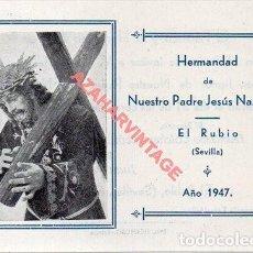 Cartoline: EL RUBIO, SEVILLA, 1947, RECUERDO CULTOS HERMANDAD NTRO.PADRE JESUS NAZARENO,96X68MM. Lote 293700628