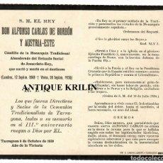 Postales: ALFONSO CARLOS DE BORBÓN Y AUSTRIA-ESTE / RECORDATORIO 1939 TARRAGONA. Lote 295512223