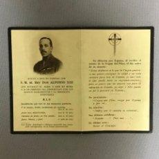 Postales: ESQUELA DE EL REY DON ALFONSO XIII, 1941. Lote 295512818