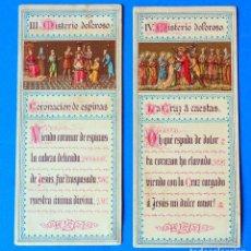 Postales: LOTE DE 2 ESTAMPAS RELIGIOSAS. III MISTERIO DOLOROSO- IV MISTERIO DOLOROSO. Lote 295517903