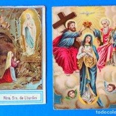 Postales: LOTE DE 2 ESTAMPAS RELIGIOSAS. NTRA SRA. DE LOURDES. Lote 295519198