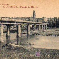 Postales: LOGROÑO - PUENTE DE HIERRO. Lote 5802843