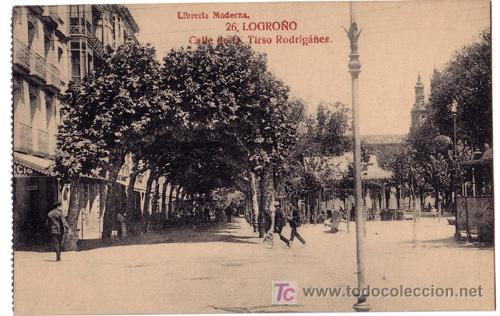 TARJETA POSTAL DE LOGROÑO. CALLE DE D. TIRSO RODRIGEZ Nº26 LIBRERIA MODERNA (Postales - España - La Rioja Antigua (hasta 1939))