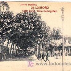 Postales: POSTAL DE LOGROÑO Nº26, CALLE DE D. TIRSO RODRIGUEZ LIBRERIA MODERNA, FOTO GILDO. Lote 7371760
