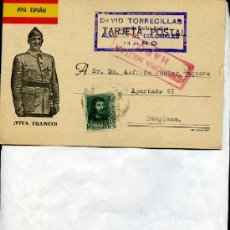 Postales: POSTAL COMERCIAL, DAVID TORRECILLAS, HARO, 1938, GUERRA CIVIL CUÑO CENSURA MILITAR HARO. Lote 14385314