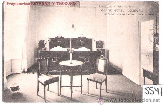 LOGROÑO - GRAND HOTEL . UNO DE LOS GRANDES DORMITORIOS - PROPIETARIOS ESTEBAN Y TROCONIZ - (5541) (Postales - España - La Rioja Antigua (hasta 1939))