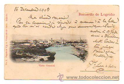 RECUERDO DE LOGROÑO. VISTA GENERAL. (ED. VDA. VENANCIO DE PABLO, Nº 1). CIRCULADA EN 1903. (Postales - España - La Rioja Antigua (hasta 1939))