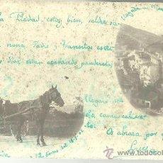 Postales: TARJETA POSTAL FOTOGRAFICA DE MUNILLA LOGROÑO - VISTA PARCIAL Y CARROMATO 1902. Lote 31536439