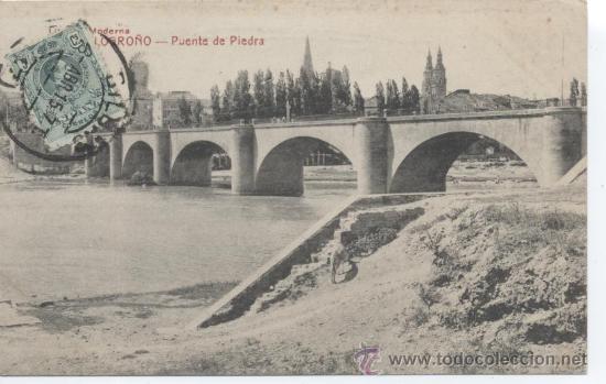 LOGROÑO - PUENTE DE PIEDRA. LIBRERÍA MODERNA. CASTAÑEIRA Y ALVAREZ. CIRCULADA EN 1915, (Postales - España - La Rioja Antigua (hasta 1939))