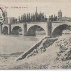 Postales: LOGROÑO - PUENTE DE PIEDRA. LIBRERÍA MODERNA. CASTAÑEIRA Y ALVAREZ. CIRCULADA EN 1915,. Lote 32727443